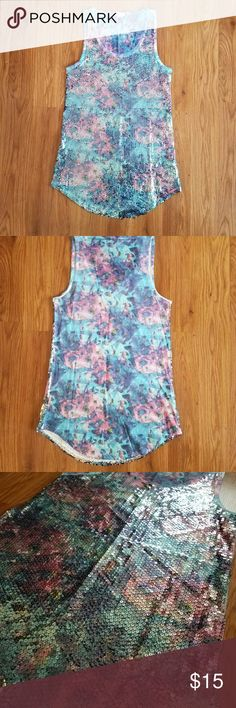 Silence and Noise tank top Beautiful colors. Sequins cover the entire front. Excellent condition. silence + noise Tops Tank Tops