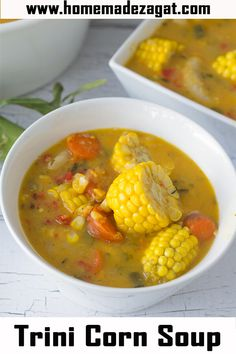 A traditional corn soup recipe for this popular Trini street food. Made with split peas, corn and dumplings this soup is commonly an after fete snack especially around carnival time Read Recipe by anntoinettemcfadden Indian Food Recipes, Vegetarian Recipes, Cooking Recipes, Healthy Recipes, Ethnic Recipes, Healthy Foods, Bread Recipes, Carribean Food, Caribbean Recipes