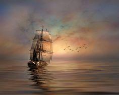 Pirate ship sails in a light breeze.