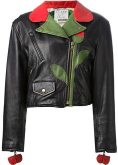 $1,345, Black Floral Leather Biker Jacket: Moschino Vintage Flower Biker Jacket. Sold by farfetch.com. Click for more info: http://lookastic.com/women/shop_items/122160/redirect