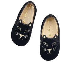 charlotte olympia kitty flats ballerina pumps in gold thread-embroidered black velvet Charlotte Olympia, Petite Blonde, Caramel Baby, Charles Perrault, Royal Baby Showers, Ballerina Pumps, Cat Shoes, Velvet Slippers, Vogue