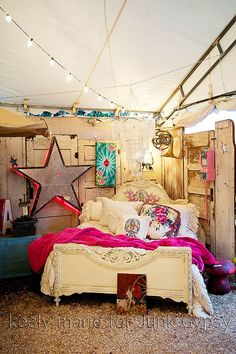 junk gypsy flea market tent episode on hgtv. #decoupagebed reruns on gac now!!!