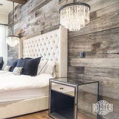 Fancy Bed, Chandelier And Elegant Wall Perfect For Rustic Decor