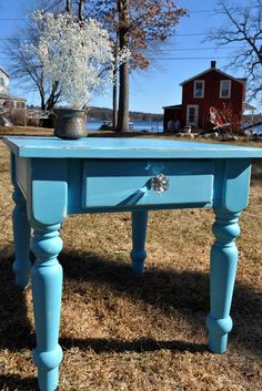 Shaby chic bright blue end table