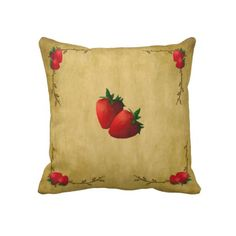 Shop Country Strawberries Pillow created by MouseCountry. Strawberry Kitchen, Strawberry Farm, Strawberry Summer, Strawberry Shortcake, Strawberry Cheesecake, Strawberry Decorations, Pink Lemon, Country Primitive, Strawberries