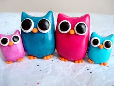 Mother's Day Family Portrait Owls Polymer Clay Owl Family Miniature Figures