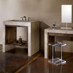 Siena Trucco Make-Up Table Stone forest Kitchen And Bath, Sink, Vanity, Wall Mount Faucet, Sink Inspiration, Wood Inlay, Bath Design, Alder Wood, Console Sink