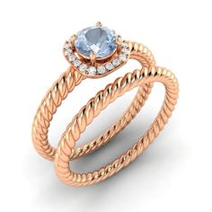 1.25 ct Round Aquamarine Rope Twist Engagement Wedding Band Ring 14Kt Rose Gold  #RegaaliaJewels #SolitairewithAccents #Engagement