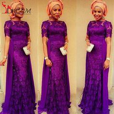 African Purple Lace Evening Dresses 2016 O Neck Half Sleeve Floor Length Women Wedding Guest Party Dress Custom Made
