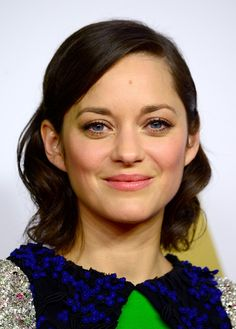 Pretty in pink! We love this matchy-matchy pink lip and cheek on Marion Cotillard at the Annual Academy Awards Nominee Luncheon.