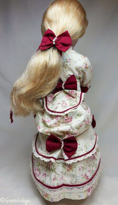 Late Victorian bustle dress plus a white under bustle to fit A girl for all time dolls Cotton Lace, White Cotton, Cotton Fabric, Fabric Hair Bows, Red Fabric, Bustle Skirt, Fitted Bodice, Up Hairstyles, Her Hair