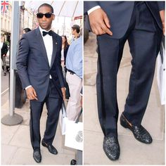 Tinie Tempah in Jimmy Choo glitter 'Sloane' slippers. Bold, and dazzling!