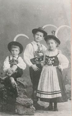 vintage photo German Alpine Children pose in Beautiful traditional costume 1899. $4.75, via Etsy.