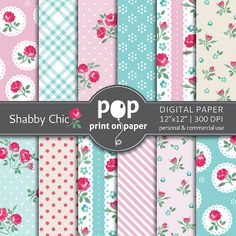 Floral digital paper SHABBY CHIC digital paper by POPprintonpaper