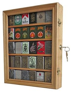 LOCKABLE 30 Zippo Lighter Display Case Shadow Box Wall Cabinet, Lockable Door, Solid Wood, LC30-OA