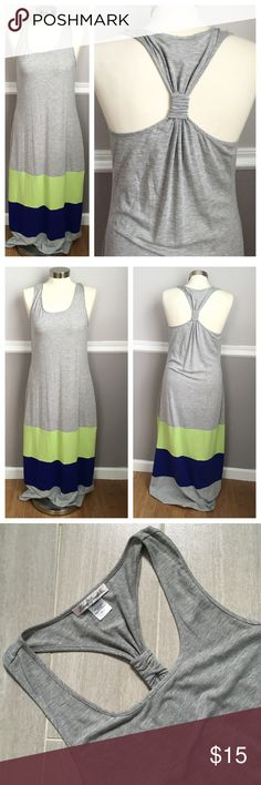 Gray Maxi Dress Gray maxi dress with racer back. Blue and bright light green on bottom. Soft material! 62% 34% rayon 4% spandex. I'm 5'3 and it goes to my ankles. Worn once Linea Donatella Dresses