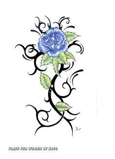 Blue Rose with Tribal Stem Time Tattoos, Leg Tattoos, Body Art Tattoos, Tribal Tattoos, Sleeve Tattoos, Tatoos, Tattoo Stencil Designs, Flower Tattoo Stencils, Flower Tattoo Designs