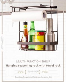 Multifunctional, Can store spice jars and kitchen roll papper. Also it can hanging towels. No nail, no adhesive, hang on the cabinet door directly. Fits over all standard kitchen cabinet doors.