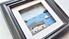 Nautical Art Coastal Art Mixed Media Wall Art Sea Pottery Cottages and Yachts Made in Cornwall Unique Cornish Gifts Unusual Gift Ideas Coastal Wall Decor, Coastal Art, Coastal Cottage, Media Wall, Nautical Art, Broken China, Unusual Gifts, Box Frames, Pebble Art