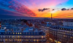 sunset in Paris, France.... must enjoy with glass of wine and a baguette!