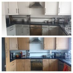 Annie Sloan painted kitchen before & after pure white and Paris Grey, over laminate cupboard doors! #chalkpaint #anniesloan