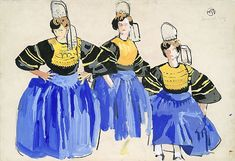 Etude pour 3 bigoudènes, Peinture de Mathurin Méheut