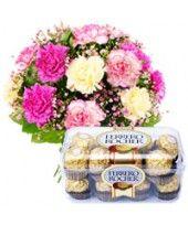 Dozen Carnations Arrangement 16 pcs Ferrero Rocher chocolate box