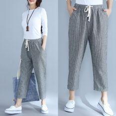Celana Harem Capri Wanita Warna Abu Abu Bergaris Garis Ukuran Besar Versi Korea Bergaris Abu Abu Celana Panjang Wanita Celana Wanita Celana