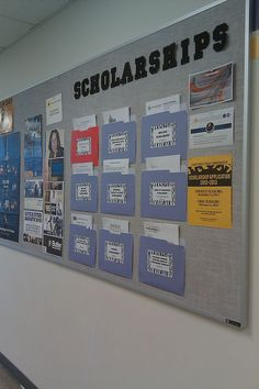 Scholarship/college board - make pockets out of folders and place on the bulletin board so people can grab applications as they need. I'm going to put this in the choir room to let kids know about all of the music scholarships out there! Counseling Bulletin Boards, Counseling Office Decor, College Bulletin Boards, College Board, Counseling Activities, Classroom Decor, School Counselor Office, High School Counseling, Career Counseling