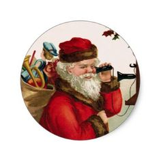 Vintage Santa with Toys on Antique Telephone Classic Round Sticker - christmas stickers xmas eve custom holiday merry christmas