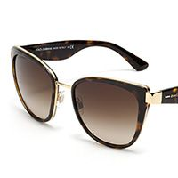 Women's havana metal sunglasses with cat-eye frame by Dolce