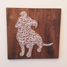 Dog string art K9 Pit Bull Staffordshire Terrior Dog by aSherThing