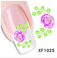 Nagelsticker water transfer XF 1025, Restposten, orange, Blumen, Sticker