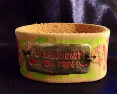 FREE SHIPPING Buy one get one 1/2 price on all JEWELRY.  Sweetheart of the rodeo cuff/bracelet/bangle leather n distressed neon by TiltedTCustom on Etsy https://www.etsy.com/listing/194413853/free-shipping-buy-one-get-one-12-price