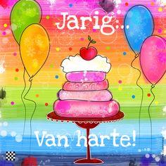 Jarig van Harte kleurrijk taart, verkrijgbaar bij #kaartje2go voor €1,89
