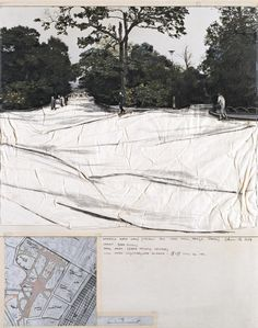 """Christo, Wrapped Walk Ways (Project for Ueno Park, Tokyo Japan) Collage 1969, 28 x 22"""" (71 x 56 cm) Pencil, fabric, wax crayon, photograph, charcoal, map and tape"""