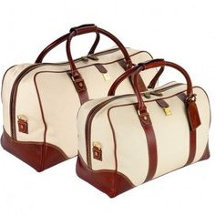 Travel Bag Set in Beige Canvas & Smooth Cognac - Aspinal of London