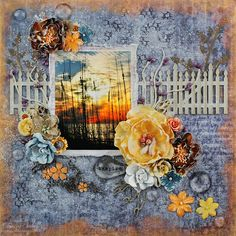 """""""Inspire"""" Mixed Media Layout by Tracey Sabella for Leaky Shed Studio & Once Upon A...Sketch ~ 13 Arts Timeless, Leaky Shed Studio Picket Fence, Leaky Shed Studio Floral Pirouette Small, Prima Flowers, Prima Junkyard Findings, pebbles, Petaloo, Crackle, Viva, Clearsnap Mix'd Media Inx CHOX, Pan Pastels, Helmar, Kaisercraft Template Wheat, Beach Sunset, Grunge, Girlie Grunge"""