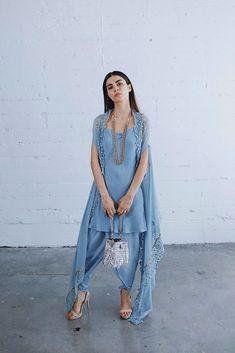 Buy Blue Color Dhoti Dress by Akanksha Singh at Fresh Look Fashion Indian Attire, Indian Wear, Indian Outfits, Simple Pakistani Dresses, Pakistani Dress Design, Look Fashion, Indian Fashion, Fashion Outfits, Fasion