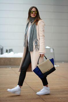 nike+sneakers,+white,+new+york+fashion+week,+lincoln+center,+leather+pants,+grey+scarf,+pink+coat,+zara,+celine+bag,+style,+blogger.jpg (750...