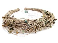 Linen necklace with turquoise pieces / Lniany naszyjnik z turkusami