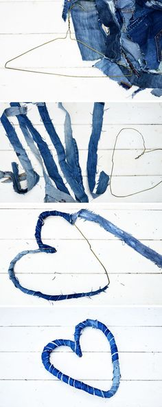 How to Make Delightful Denim Hearts 2 ways from Jeans 2019 How to make a delightful denim hearts wreath from upcycled jeans. Great Valentine's decoration The post How to Make Delightful Denim Hearts 2 ways from Jeans 2019 appeared first on Denim Diy. Jean Crafts, Denim Crafts, Upcycled Crafts, Denim Jeans, Denim Decor, Denim Wedding, Denim Party, Recycling For Kids, Denim And Diamonds