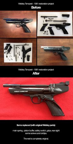 High-res before- and after shots of the restoration of a vintage Webley Hurricane air pistol. This gun was the first air pistol I ever bought, back in 1981. It has been lying around in a box for decades, and some parts war broken and missing. The pistol had become pretty rusted, so when I discovered it, I had to restore it back to it's former glory. This is when my passion for restoring vintage guns started, my first restoration project.