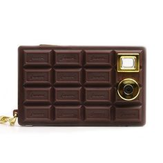 The Digital Chocolate Camera. A mini-keychain digital photo/video camera from Japan shaped like a bar of chocolate. Comes in chocolate, vanilla and strawberry. Cute Camera, Toy Camera, Will Cotton, Choco Chocolate, Chocolate Heaven, Play The Video, Four Corners, Photography Camera, Technology Gadgets