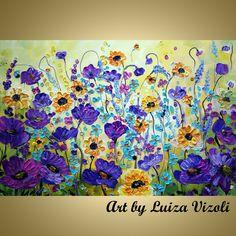 PURPLE WILD FLOWERS -  Shop 100% risk free Original colorful impasto wild floral landscape paintings on large canvas by artist Luiza Vizoli. www.artbyluizavizoli.com