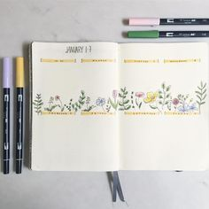 """17 curtidas, 2 comentários - Isabel (@isabelbujo) no Instagram: """"First weekly of 2018! I continued the flowery theme using tutorials from one of my Christmas…"""" #diaryideas"""