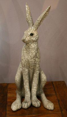 Large Sitting Raku Hare