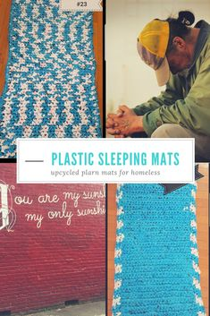 Plastic sleeping mats upcycled from grocery bags. & Crochet plastic sleeping bag mats for the homeless Plastic Bag Crafts, Plastic Bag Crochet, Plastic Mat, Recycled Plastic Bags, Crochet Mat, Plastic Grocery Bags, Crochet Shell Stitch, Recycled Crafts, Plastic Spoons