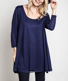Look what I found on #zulily! Navy A-Line Tunic by Elegant Apparel #zulilyfinds