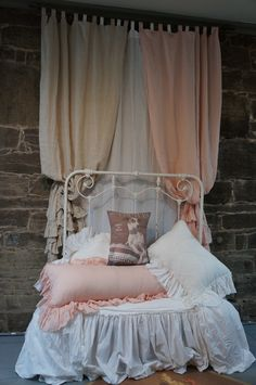 Linen Ruffle Curtain Panels from our Bedding Collection. www.pinkpigwestport.com